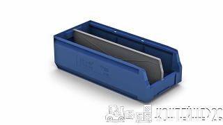 Складской лоток синий с перегородкой по длине