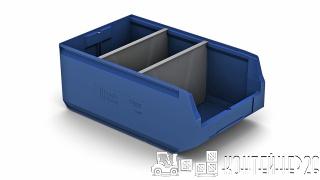 Складской лоток синий с перегородкой по ширине