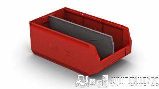 Складской лоток красный с перегородкой по длине