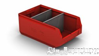 Складской лоток красный с перегородкой по ширине