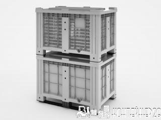 Перфорированный контейнер iBox 1200х800 на ножках и на полозьях