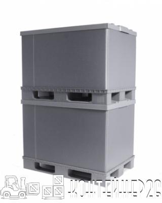 Разборный пластиковый контейнер PolyBox 1200х800 в штабеле